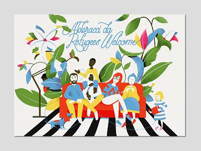 Postcard for Refugees Welcome design for good artwork colorful geometric custom type lettering graphic design design illustration