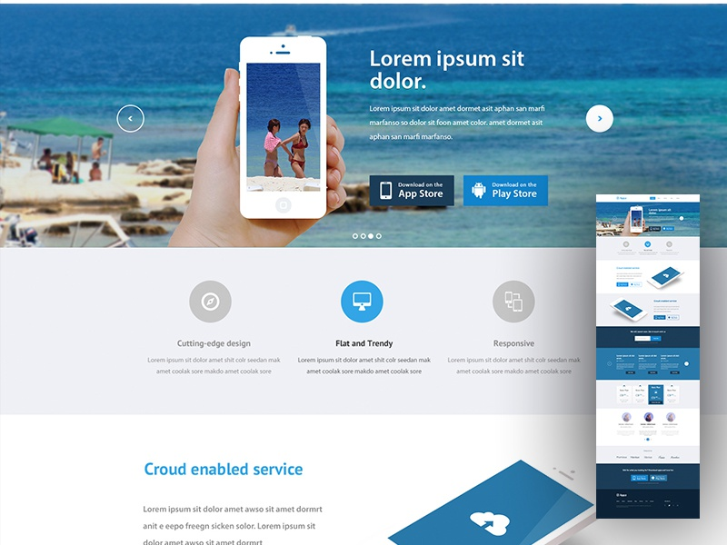 Landing page mockup invite psd website apps blue web table pricing web ui ios app landing page landing page applanding page flat website