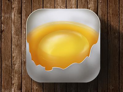 """""""break an Egg"""" app icon egg shell beak beak egg yellow glow"""