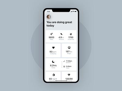 Health App - Sherbit ui farhan analyse stats number data iphonex health