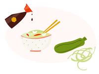 Zucchini noodles salad