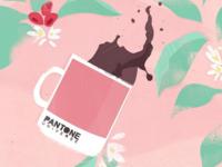 Pantone mug full of coffee