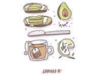 Salty breakfast - cheese, avocado and tea