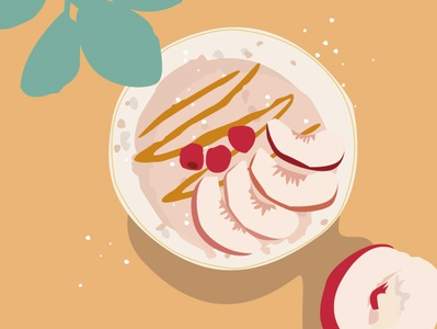 Porridge Happy Breakfast Illustration peach summer sunny porridge breakfast france food design illustration vector