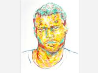 Crayon mugshot drawing