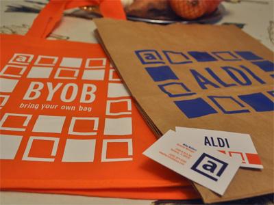 ALDI Rebranding bags grocery store rebrand design school orange blue buisness card recycle aldi
