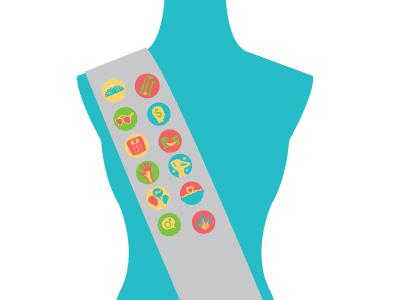 Finishing School for Modern Woman Sash modern women finishing school woman body mannequin infographic sash badges
