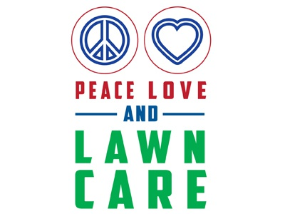 Peace Love Lawn Care america female designer blue white red patriotic simple line work love peace lawn care
