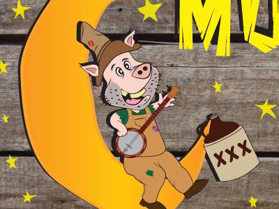 BBQ Hillbilly Pig banjo driking drunk north georgia bar-b-que. atlanta hog hillbilly bbq pig