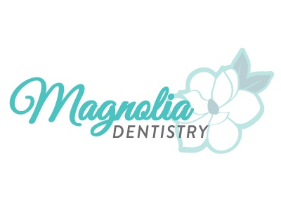 Magnolia Dentistry Dribble dentist script flower in bloom magnolia taupe turquoise