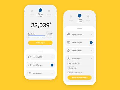 Freelance interface - Concept menu yellow flat freelance concept idea branding ux ui design app