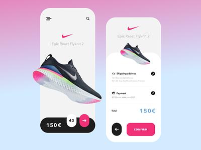 One day one drop - Concept blue pink raffle sneakers nike illustration concept sport idea gradient branding ux ui design app