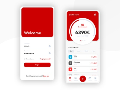 Banking app - Concept red cryptocurrency account banking idea concept gradient ux ui design branding app