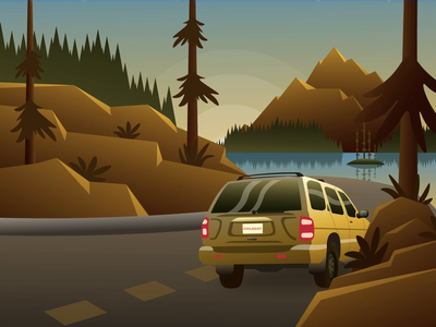 Mountain Drives motion graphic motion design vector flat animation illustrator design illustration