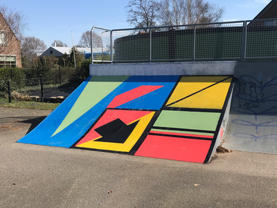 Graphic shapes and bright colors skatepark sign signage traffic intens bright shapes graphic urban painting school