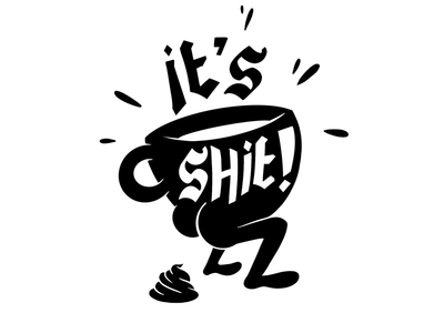 BAD COFFEE coffee black and white sticker vector pro create illustration