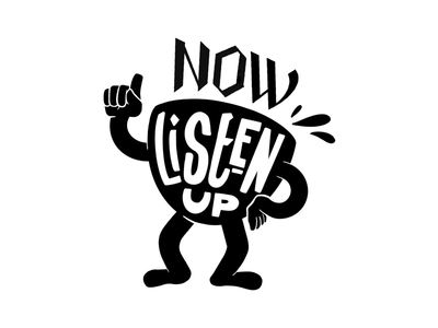 LISTEN UP typography lettering black and white quote procreate coffee sticker illustration