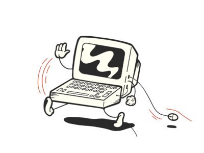 Hey there goes my pc bw dribbble hello pro create retro vector illustration computer