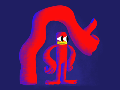 No I'm okey emotion character cartoon ipad digital red blue pro create