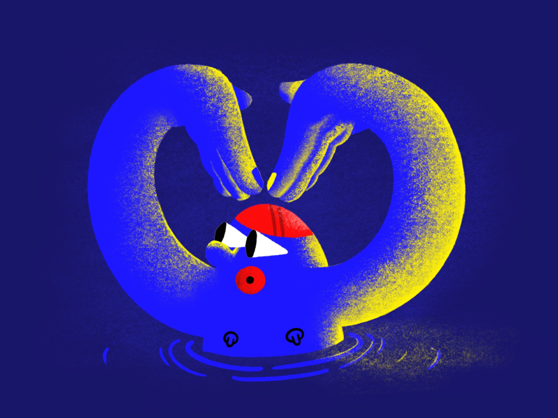 In sync with myself blue procreate ipad swim digital drawing drawing