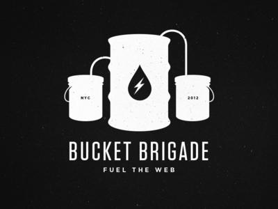 Bucket Brigade squarespace bucket brigade fuel gasoline oil drum drop lightning bolt tungsten gotham illustration