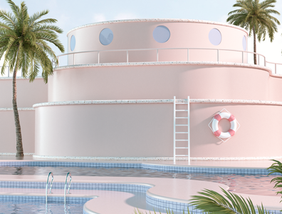 Virtual Holidays 3d art dribbble abstract surreal summer pool c4d instagram minimal aesthetic pastel illustration design 3d