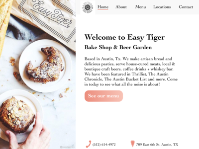 Easy Tiger Landing Page Redesign