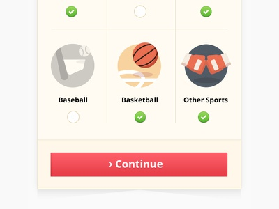 Mobile Betting Site UI Element selections icons mobile