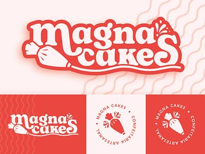 Magna Cakes design branding typography logo adobe illustrator illustration