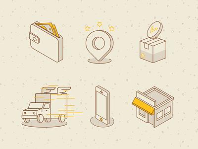 Delivery App Icon Pack flat website pack icon branding web adobe illustrator minimal vector illustration