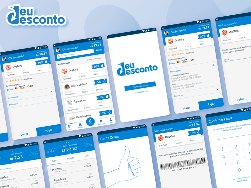DeuDesconto app ux ui branding design