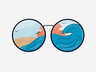 View through my glasses sunset procreate beach summer sea illustration