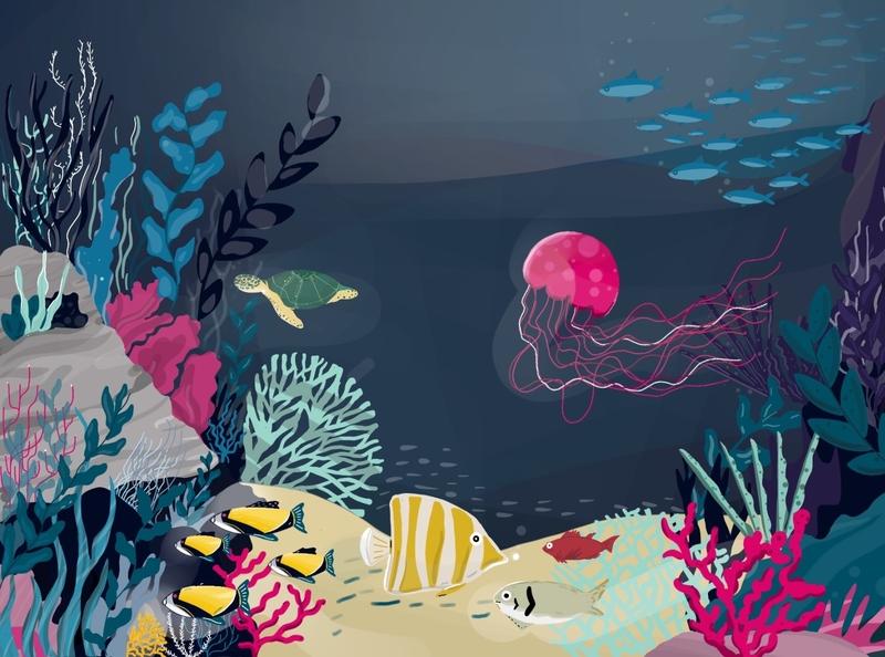 Underwater digital illustration illustration art drawing digital digital illustrator digitalart underwater water sea procreate illustration