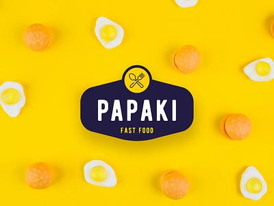 Papaki Logo Concept vector flat design branding eggs hamburgers yellow logo design logotype logo