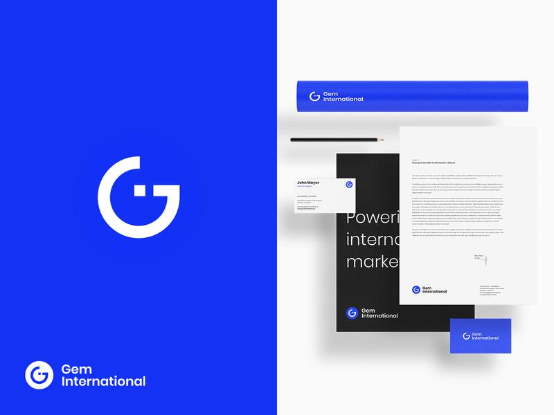Gem International logo modern color illustration consulting business vector logotype logo design logo flat design branding