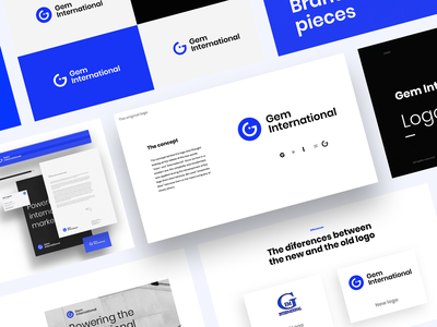 Gem International stylesguide styleguides styleguide blue color consulting business vector logotype logo design logo flat design branding