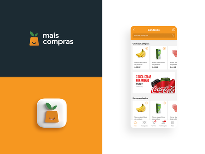 Mais Compras Logo and home page skeumorphism delivery food orange logo modern orange app design online shop business logotype logo design logo flat design branding