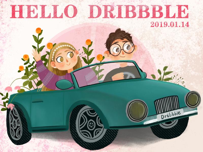 hello dribbble 插画