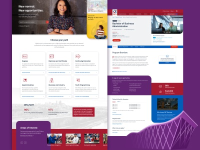 SAIT refresh university college red purple cards colorful education ui homepage