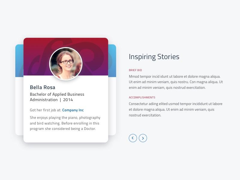 Inspiring Stories stories student profile website slider material cards education testimonial