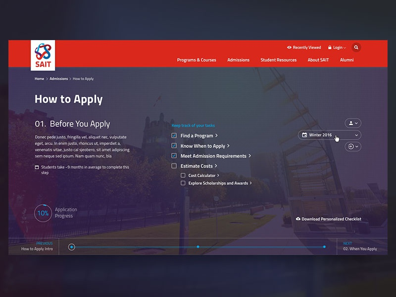 How to Apply - Interactive progress checklist process education student homepage dashboard interactive
