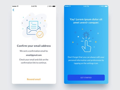 Confirmation screens splashscreen vector startup toronto ios confirmation onboarding illustration minimal blue app screen