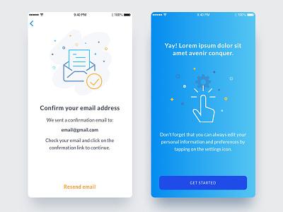 Confirmation screens splashscreen vector startup toronto ios confirmation onboarding illustration minimal blue app screen