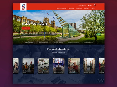 Sait cards landingpage innerpage detailpage website college university ui ux homepage education