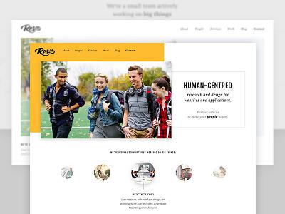 ResIM's site redesign process white black yellow portfolio slider banner homepage design research ui ux redesign