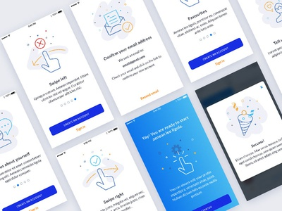 Onboarding and Confirmation Screens blue vector iphone ios clean simple flat illustration app screen onboarding