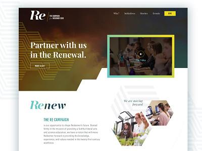 Campaign Website landing page university education blue clean geometric ux ui homepage website campaign