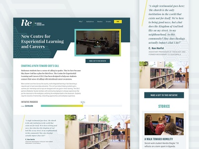 Redeemer Campaign landing page university education blue clean geometric ux ui homepage website campaign
