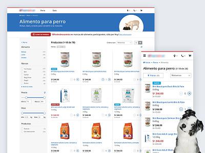 E-commerce re-design animals shop list grid store products website pets ecommerce