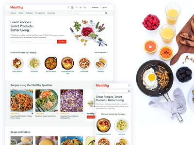 Mealthy photography cards ux ui modern minimal white clean home page startup recipes food
